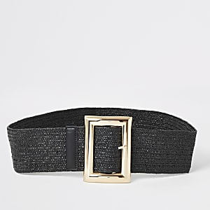 Black stretch square buckle belt