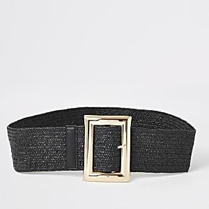 Zwarte riem met stretch en vierkante gesp