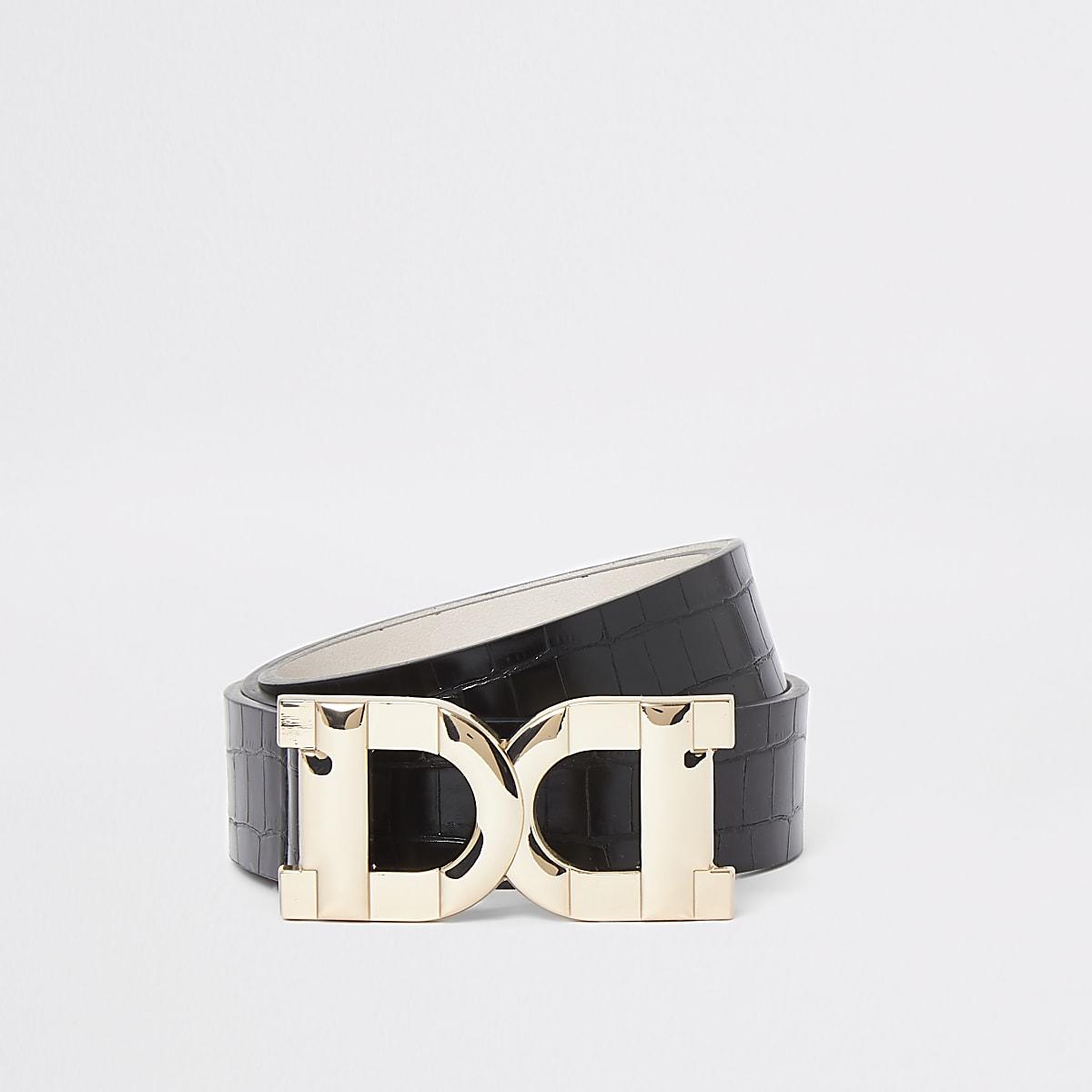 Ceinture noire à anneau en D double