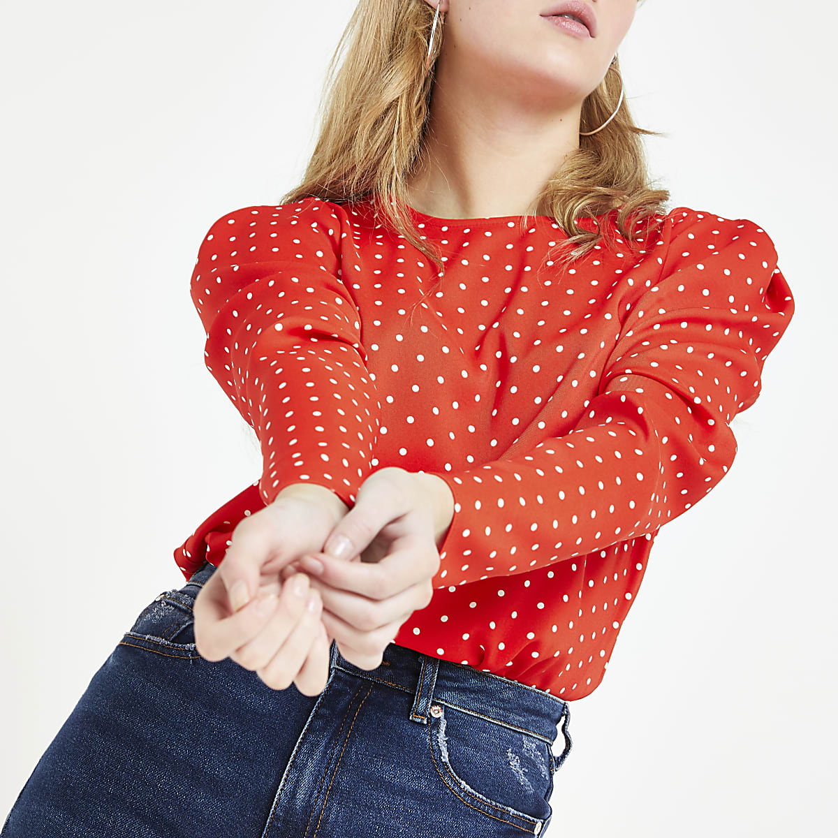 Red spot puff sleeve top