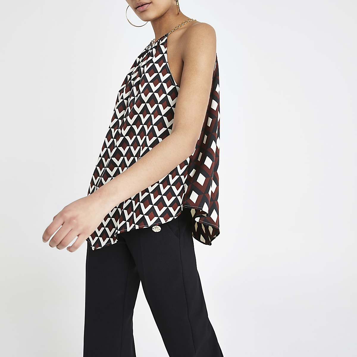 Brown geo print halter neck top