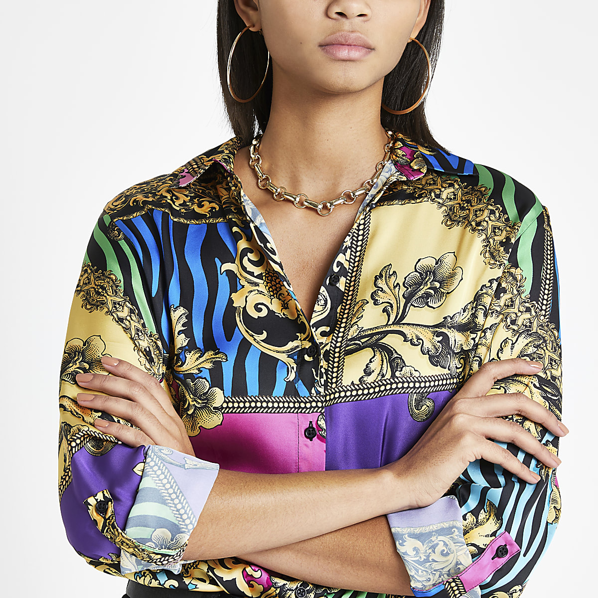 Pink multi print long sleeve shirt