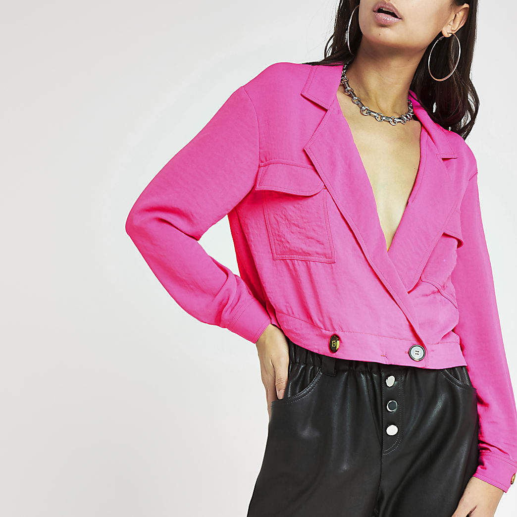 Bright pink cropped shacket