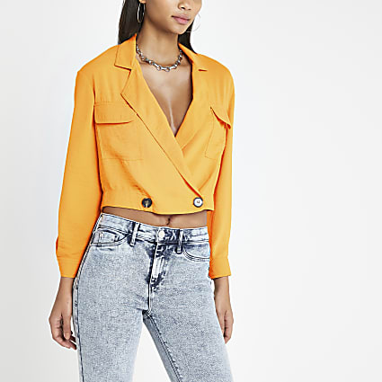 Orange crop utility shacket