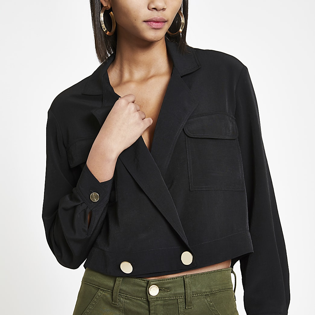 Zwart cropped utility shacket