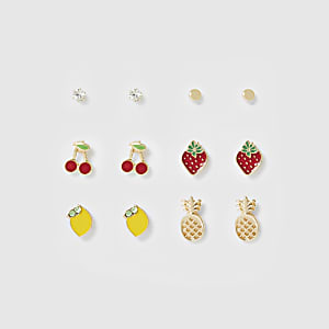 Gold color mixed fruit earrings multipack