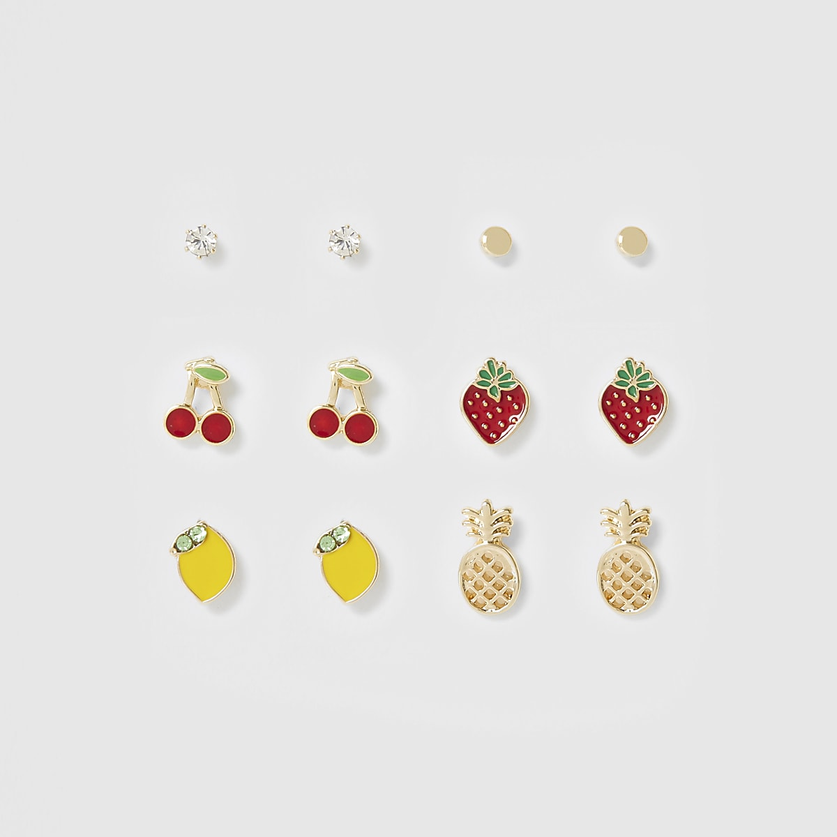 Gold colour mixed fruit earrings multipack