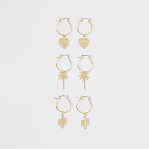 Gold colour summer charm hoop earrings pack