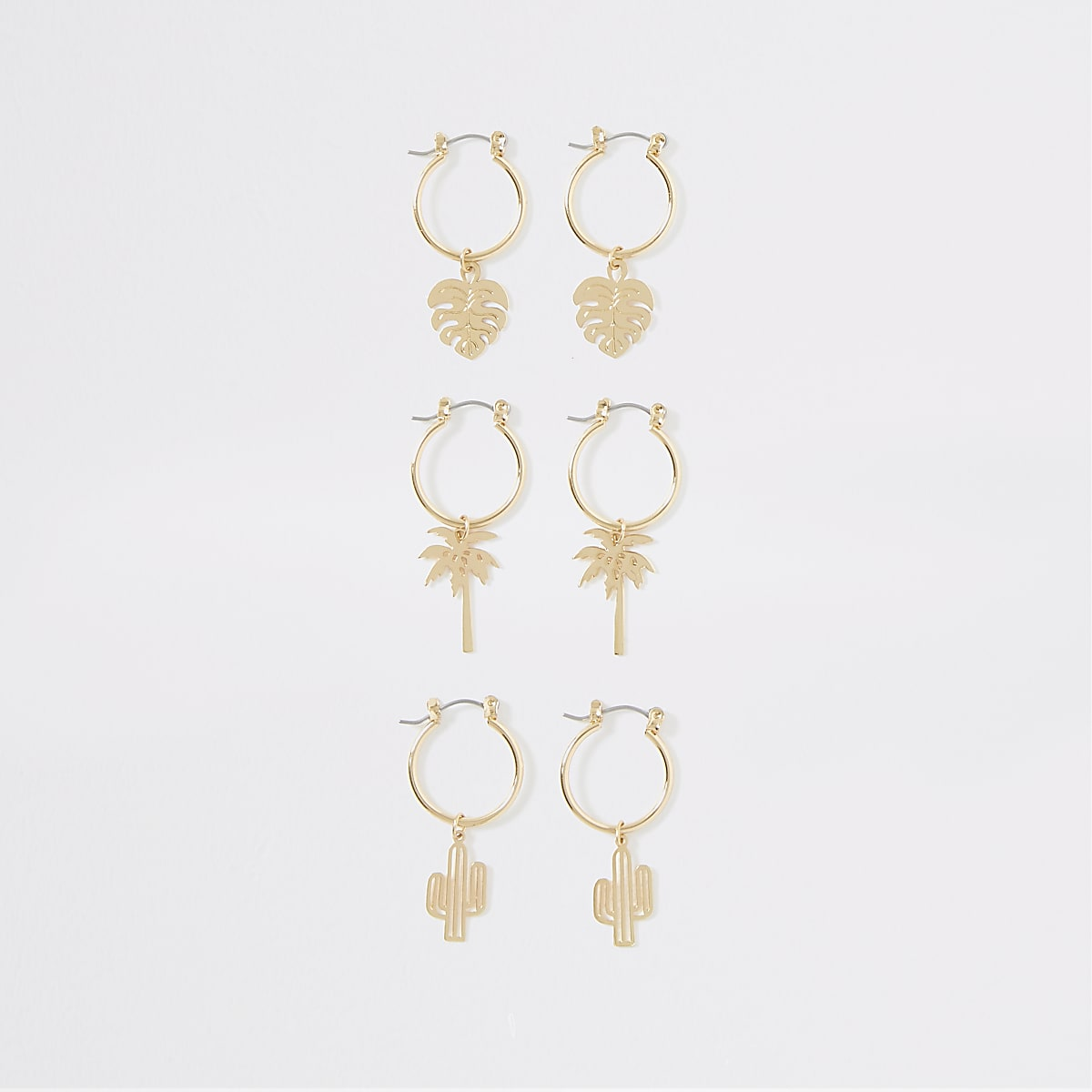 Gold colour summer charm hoop earrings pack