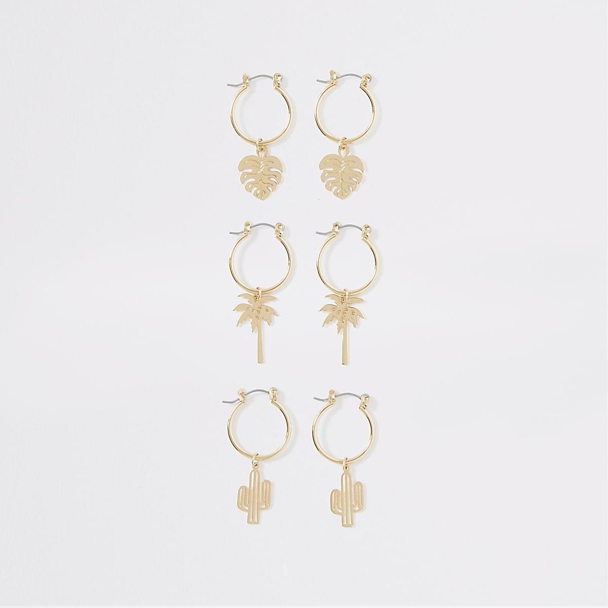 Gold color summer charm hoop earrings pack