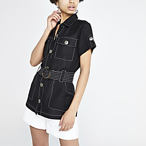 Black linen belted utility shirt