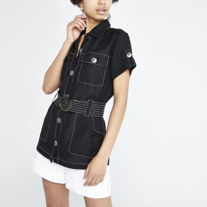 Black linen belted utility shirt