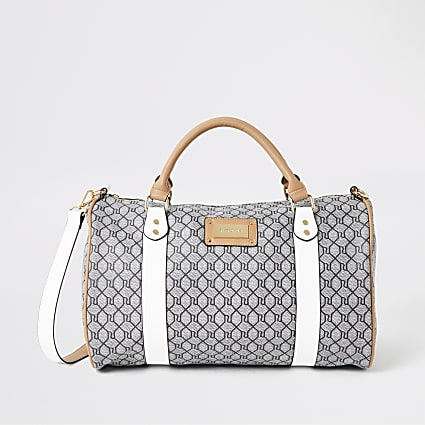 Grey RI monogram weekend travel bag