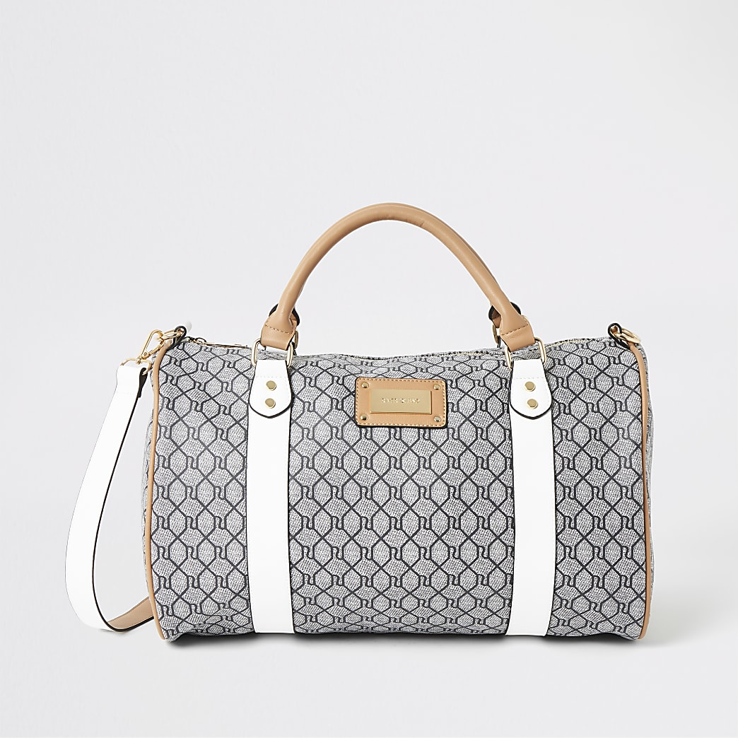 Grey RI monogram weekend travel bag