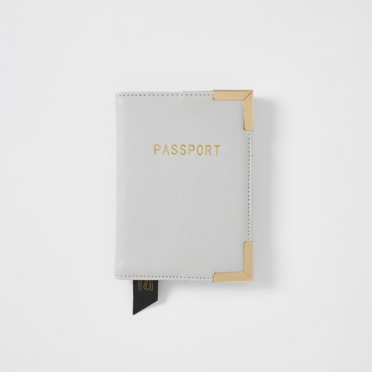 Porte-passeport gris clair