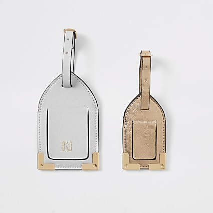 Grey & bronze luggage tag set