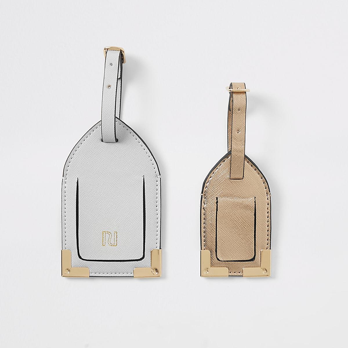 Grey & bronze luggage tag set