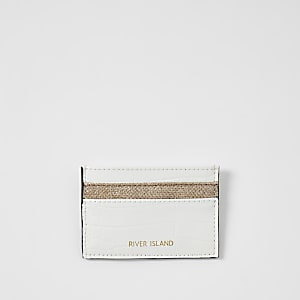 Porte-cartes blanc effet croco