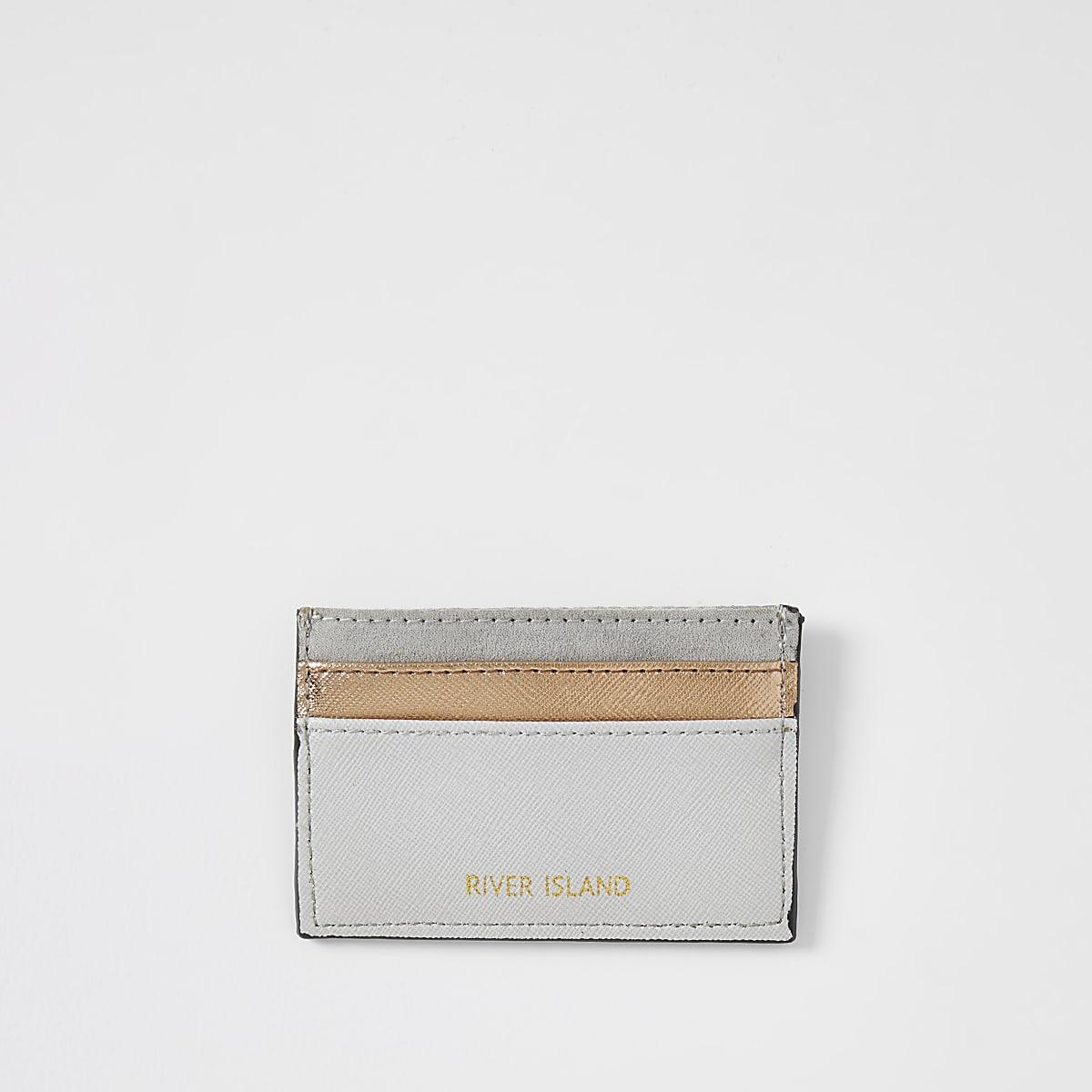 Grey rose gold card holder