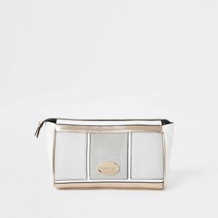 Grey zip top makeup bag
