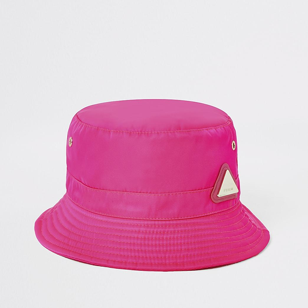 Neon pink RI bucket hat