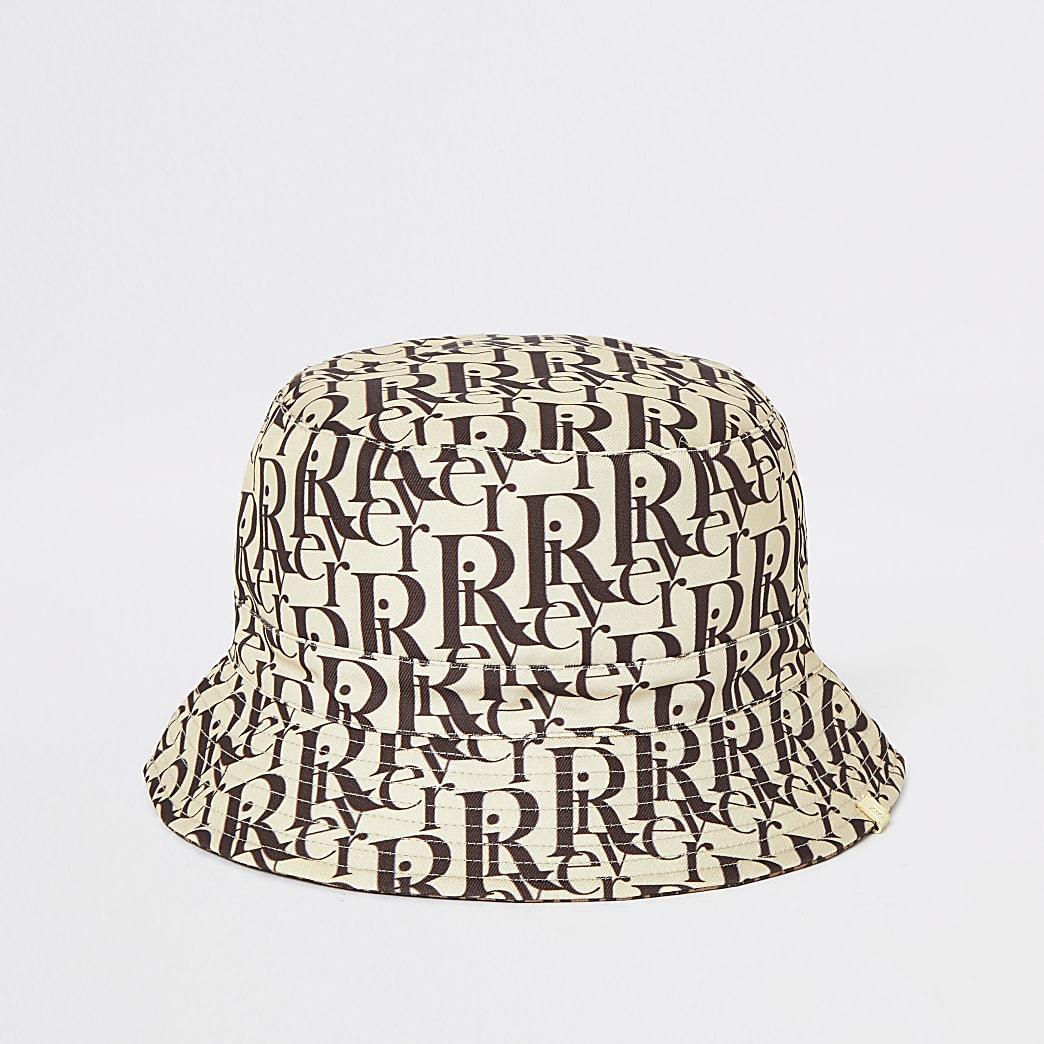 Bruine omkeerbare bucket hat met print en RI-monogram