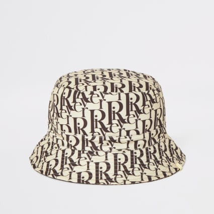 Brown RI monogram print reversible bucket hat