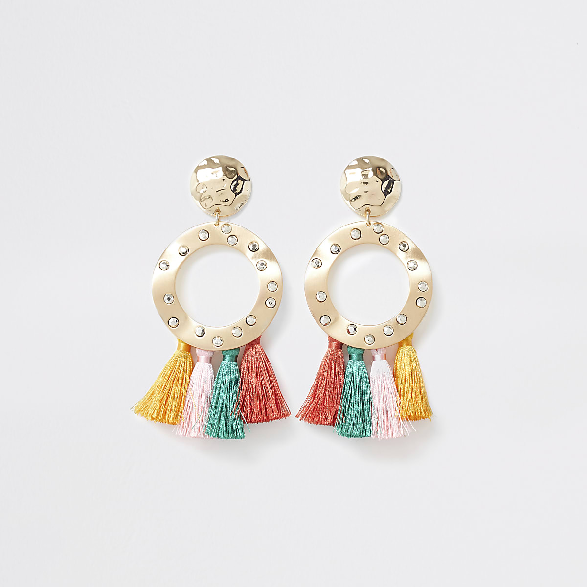 Multi coloured tassel ring drop earrings