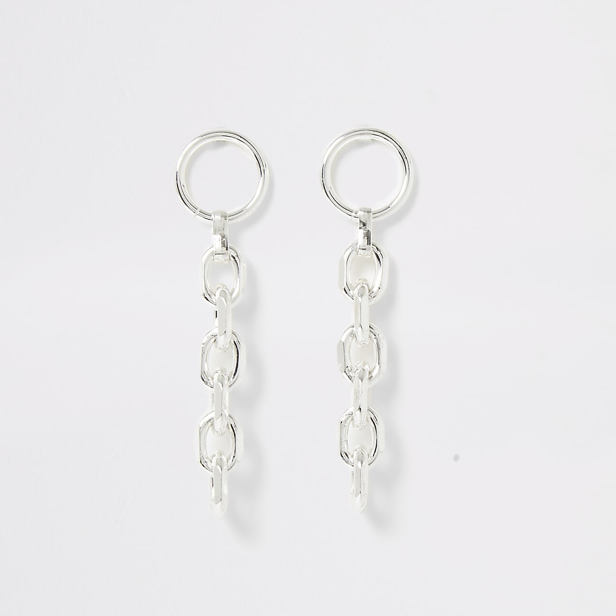 Silver colour chain drop earrings