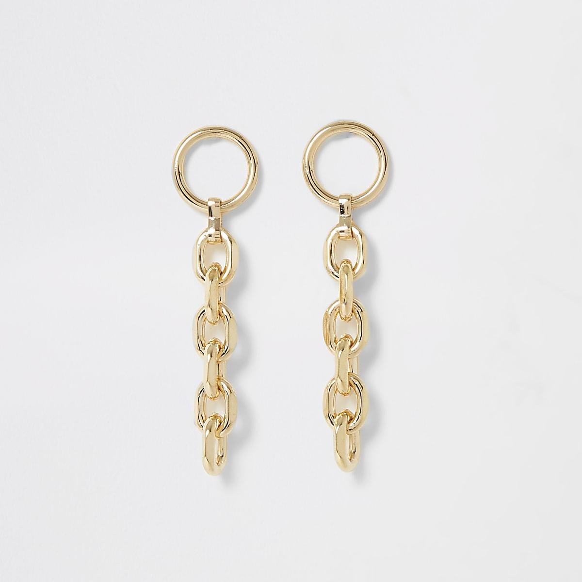 Gold colour chain drop earrings