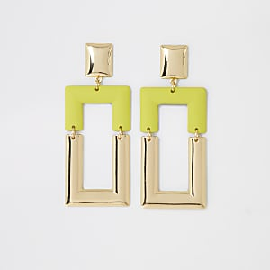 Neon green rectangle drop earrings