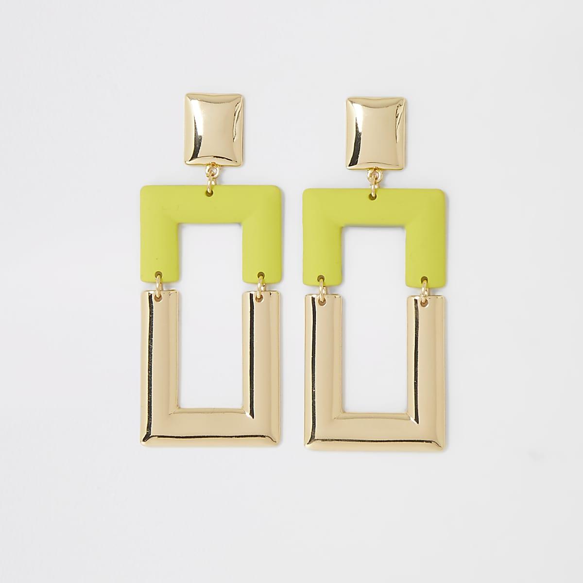 Neon green rectangle drop earrings