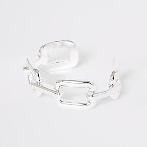 Silver color chunky curb bangle