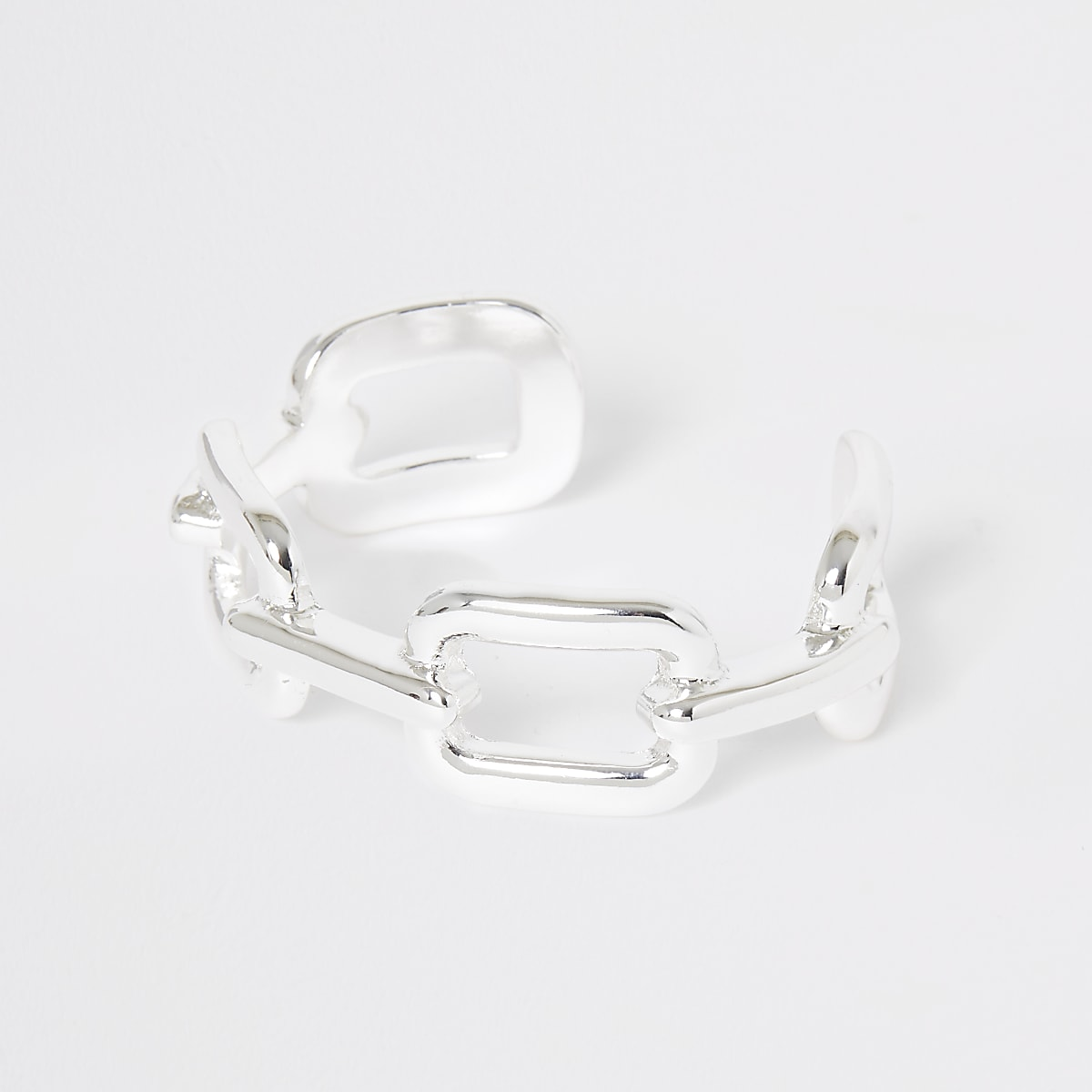 Silver colour chunky curb bangle