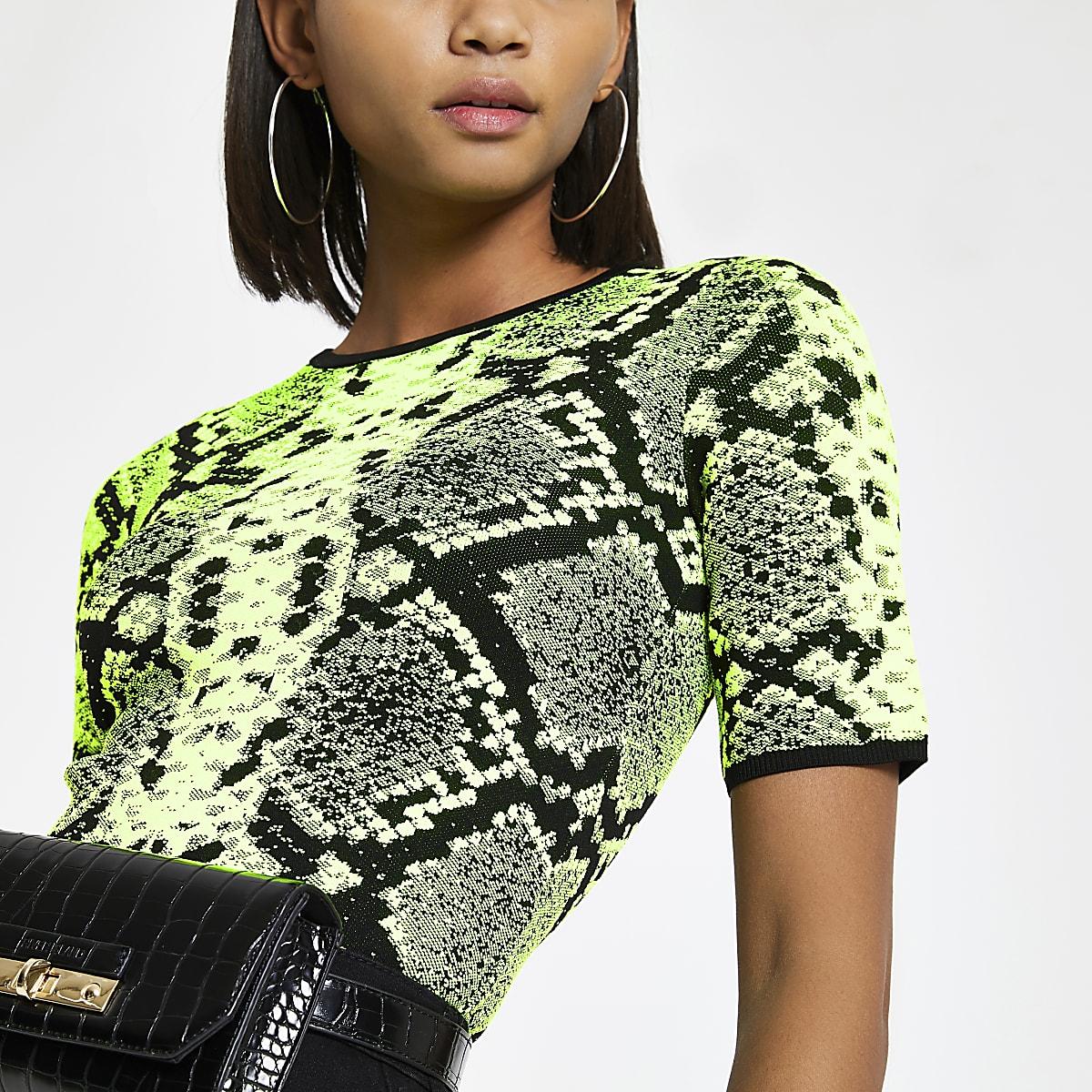 Neongroen gebreid T-shirt met slangenprint
