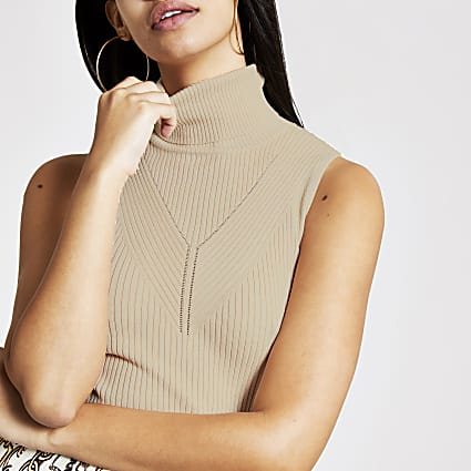 Beige cowl neck knitted top