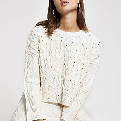 Cream studded cable knit jumper