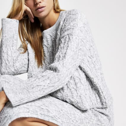 Grey faux pearl embellished knit jumper