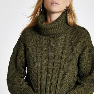 Green Cable Knitted Roll Neck Crop Jumper by River Island