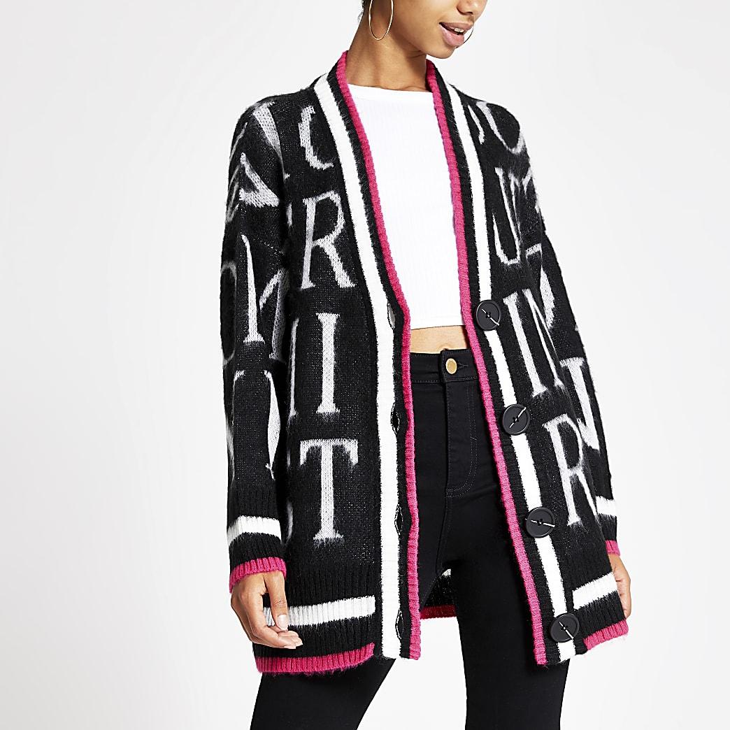 Zwart button up vest met print en V-hals