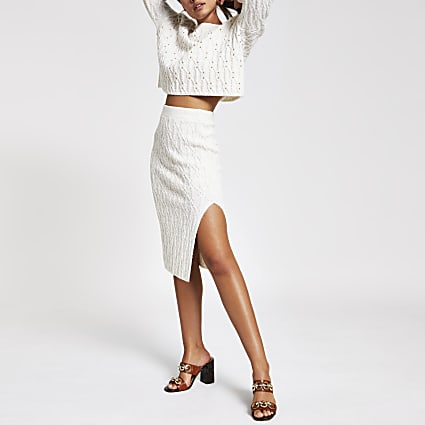 Cream cable knit midi skirt