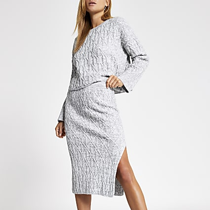 Grey cable knit midi skirt