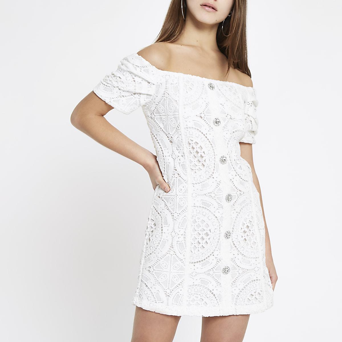 Petite white broiderie bardot dress