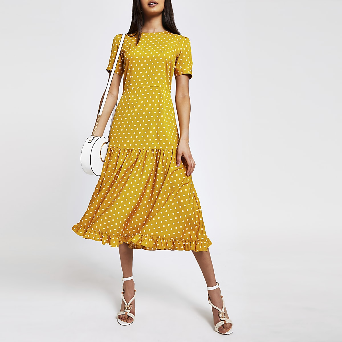 Yellow spot midi dress