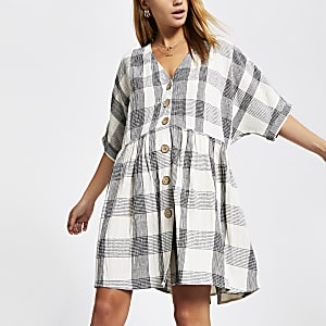 Beige check swing dress