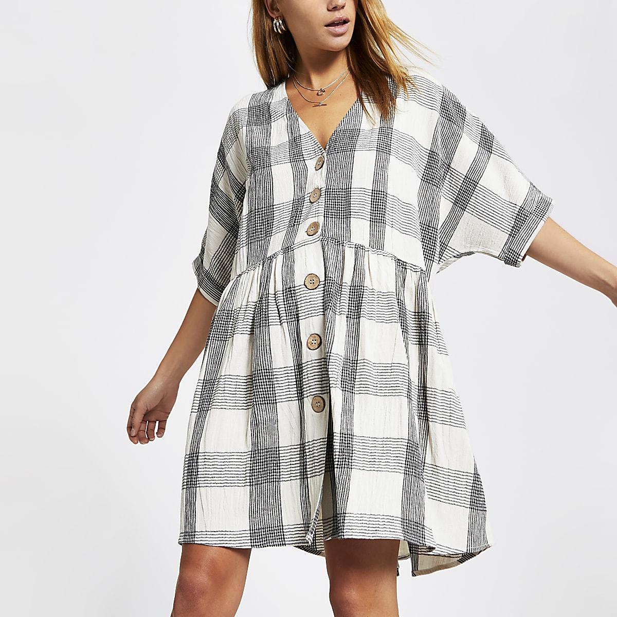 Beige check swing dress
