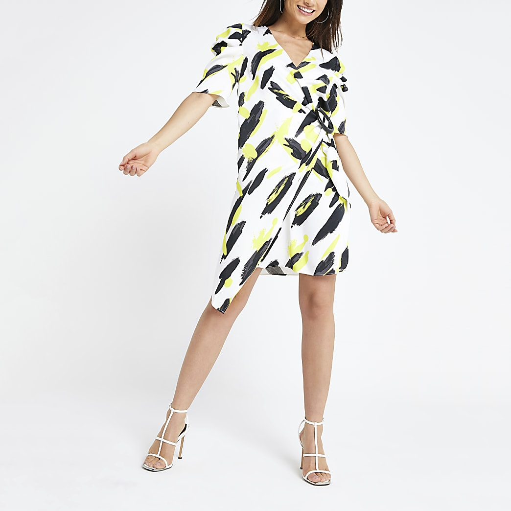 Black print wrap swing dress