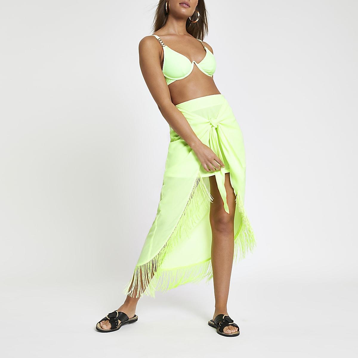 Neon green knot front beach skirt