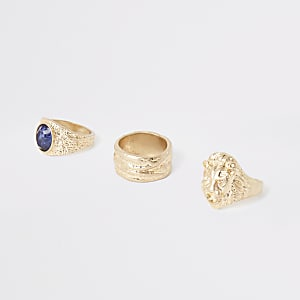 Gold colour lion ring multipack