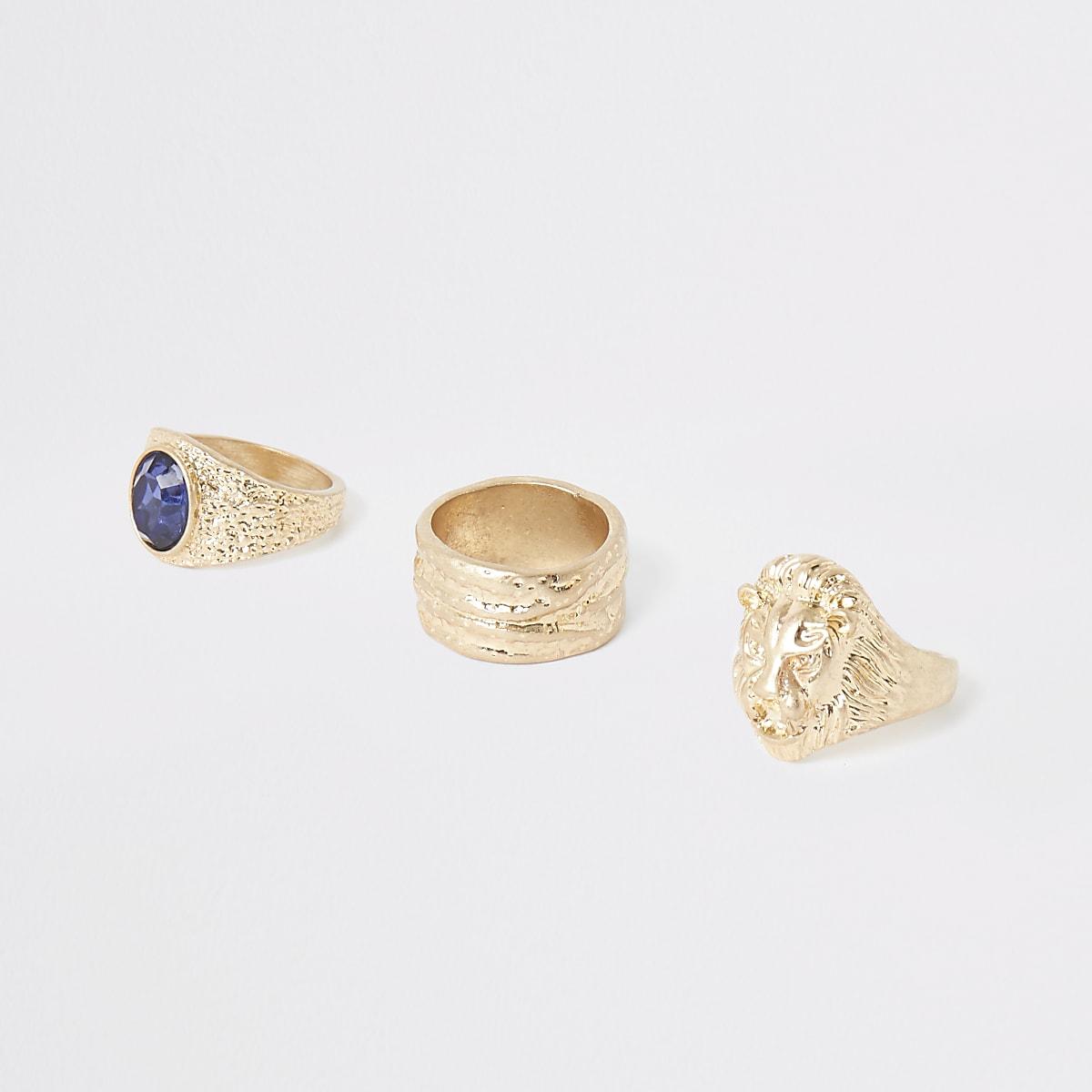 Gold color lion ring multipack